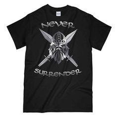 NEVER SURRENDER SWORDS Printed T-Shirt New T Shirt Design, Shirt Designs, Cool Graphic Tees, Swords, Cool Designs, Military, Printed, Mens Tops, Sword