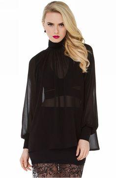 Loose Lantern Sleeve High-Neck Sheer Chiffon Blouse Shirt Black