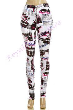 Fashionable Printed Columbian Style High Wasted Jeans #jeans #printedjeans #magazineprint #fashionjeans #spandex #royaltey