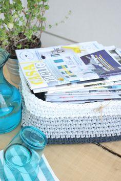 Handmade crochet basket di LovePastels su Etsy