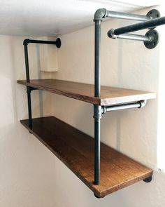 Industrial Pipe Shelving DIY - Learn more about DIY Industrial Pipe Furniture Projects at http://wiselygreen.com/15-industrial-pipe-furniture-and-home-projects-for-diyers/