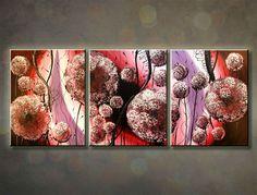 Ručne maľovaný obraz KVETY 3 dielny 120x50cm 560/MO
