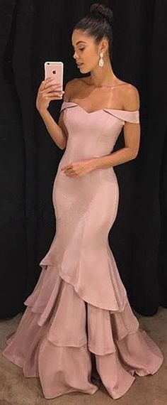 Elegant Pink Mermaid Prom Dresses | Off-the-Shoulder Long Evening Gowns