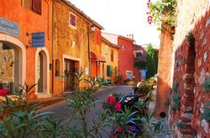 Rousillon.One of the most beautiful villages  in provence , France . Its amber coloured houses  streets lits up beautifully at sunset.