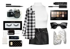 """""""black and white look"""" by tatyjadon on Polyvore featuring WearAll, H&M, NARS Cosmetics, Maybelline, Keds, Kevyn Aucoin, Polaroid, Essie, Bobbi Brown Cosmetics and MICHAEL Michael Kors"""