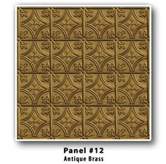 Brian Greer's Tin Ceilings - Panel Design #12 - Finishes