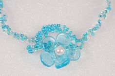 Blue Flower Necklace Recycled Glass Handmade by Originalsbydenise