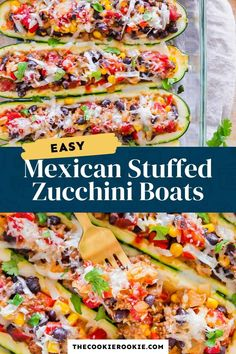 Liven up your meals with these delicious Mexican stuffed zucchini boats. Loaded with seasoned beef, beans and veggies, they're packed full of flavor and so easy to make! Oven Roasted Zucchini, Roast Zucchini, Stuffed Zucchini, Zucchini Boat Recipes, Zucchini Boats, Dinner Recipes For Kids, Healthy Dinner Recipes, Cooking Recipes, Mexican Zucchini