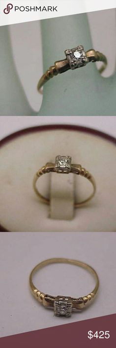 Antique 14k gold diamond  engagement ornate  ring From  early 1900s. A 14k yellow gold  .10ct (3mm) old European cut diamond si in clarity and h in color.  Stamped 14k. Size 6. Weight 1gr. Jewelry Rings