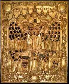 """Today is the feast of the """"Protection and Intercession of the Mother of God (Pokrov)"""" according to the Gregorian calendar. The appearance of the Mother of God with saints in the Blachernae Church of Constantinople is shown. Fire-gilded Silver-Riza, hallmarked Moscow 1779. Ikonen Mautner • Herrengasse 2-4, 1010 Vienna, Austria Russian Icons, Vienna Austria, Moscow, 18th Century, Saints, Calendar, Fire, Ceiling Lights, God"""