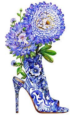 Fashion Illustration Diamond Painting Purple Roses and Shoe - Illustration Mode, Fashion Illustration Sketches, Fashion Sketches, Fashion Drawings, Fashion Art, Fashion Shoes, Fashion Beauty, Fashion Design, Trendy Fashion