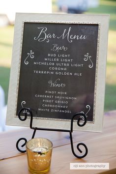 Your place to buy and sell all things handmade Bar Menu Sign: Beer and Wine by SignsbyGlundaBurns on Etsy<br> Diy Wedding Menu, Beer Wedding, Wedding Reception Signs, Wedding Signage, Wedding Ideas, Trendy Wedding, Wedding Bells, Dream Wedding, Chalkboard Bar