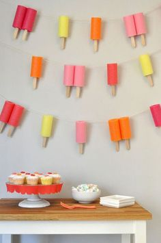 pretty sure this popsicle party is my new fave for the perfect summer party theme! check out how fun the popsicle garland looks, and it's an easy and simple backdrop! Pool Noodle Crafts, Pool Party Crafts, Art Party, Popsicle Party, Popsicle Sticks, Kids Popsicle Stick Crafts, Craft Sticks, Ice Cream Social, Popsicles