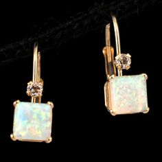 Shop 14KY .28ctw Opal Princess White Topaz Rnd Earrings and other jewelry, art, coins, rugs and real estate at www.aantv.com