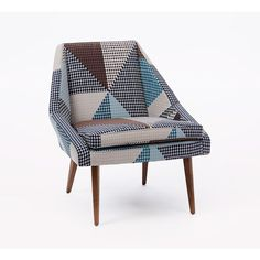 West Elm Parker Slipper Chair, Zephyr Print, Teal/Pecan (€170) ❤ liked on Polyvore featuring home, furniture, chairs, accent chairs, upholstered furniture, upholstery furniture, teal furniture, west elm and upholstery chairs