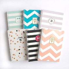 Personalized Notebook Stripes Choose your by LetterLoveDesigns