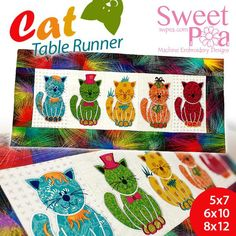 Cat table runner 5x7 6x10 8x12 in the hoop machine embroidery design