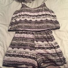 """Black white and grey romper! Very comfortable, size medium is pretty short on me and I'm 5'7"""", otherwise super cute on! Worn once! Liberty Love Pants Jumpsuits & Rompers"""