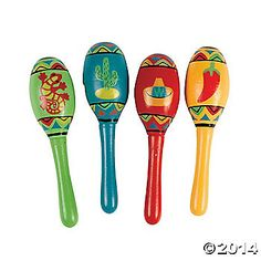 Spruce up your Mexican Fiesta with these bright and colorful Fiesta Maracas! Perfect for decorating your Mexican or Latin American themed party, these mini ...