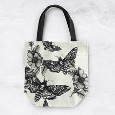 Death Moth Tote with beautiful Black and Grey Pattern on Cream Background, Skull Handbag, Skull Bag