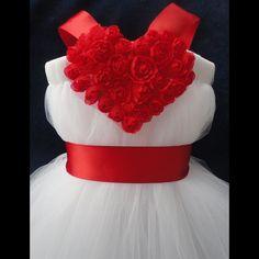 Red Heart Flower Girl Dress Tutu by StrawberrieRose on Etsy, $79.95