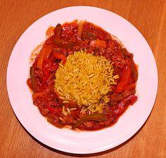 Paprika-Gemüsepfanne mit Hackfleisch und Reis