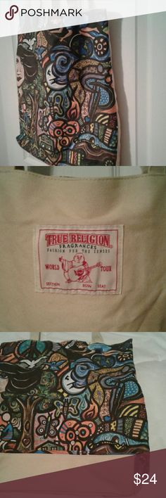 """True Religion canvas tote by Daniel Cascardo Final markdown. Very good condition, never used. 15"""" across by 3"""" x 17.5"""" long w/o handles. True Religion Bags Totes"""
