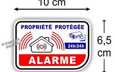 Sticker Alarme Vidéo-Surveillance Autocollant ( Lot de 4 Stickers ): Lot de 4 Stickers / Autocollants Alarme Dimension Largeur 10 cm /…