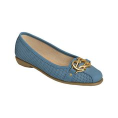 Women's Aerosoles High Bet - Blue Perfed Nubuck Casual ($64) ❤ liked on Polyvore featuring shoes, casual, ornamented shoes, slip-on loafers, slip-on shoes, ballet pumps, ballerina shoes and ballerina pumps