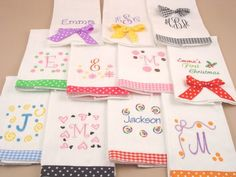 Baby Burp Cloths | for more details on making these burping cloths shown are