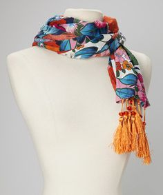 Take a look at this Orange & White Floral Tassel Scarf by Rapti on #zulily today!