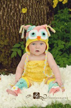 Crochet Baby Owl Hat and Leg Warmers Newborn to 4T. $48.00, via Etsy.