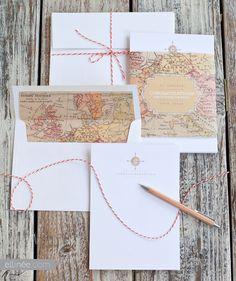 DIY Vintage Map Monogram Note Card Set