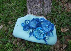 Felt bag blue-Felted Bag-Felted Purse-Felt от YuliasFeltworld