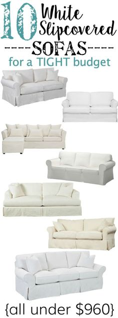 A shopping guide with 10 white slipcovered sofas on a budget, plus why they are the best option for any families with kids and pets. Living Room Colors, Living Room Sofa, Living Room Furniture, Living Room Decor, Apartment Living, Furniture Ideas, Living Rooms, Cool Couches, White Couches