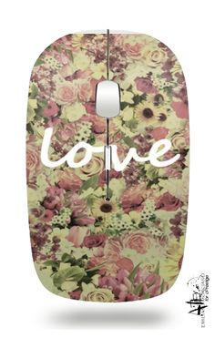 Slim Wireless Mouse Vintage Love white - Bags & Accessories #wireless #mouse #pc #vintage #love #romantic #girly #floral #france #french #shabby #chic #floral #flowers #typography #love #lovemydesk #accesories #vintage #nikamartinez #cprestige