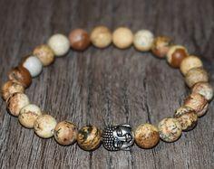 Buddha Bracelet, Picture Jasper Bracelet, Buddha Head Bracelet, 7 Chakra Energy Bracelet, Men Women Healing Bracelet, 8mm Yoga Bracelet