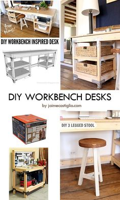 You can use a workbench or shelving hardware kit from HomeDepot to build this sturdy workbench-inspired desk. The easy tutorial provided by jaimecostiglio.com has a link to a FREE DESK PLANS complete with step by step instructions, materials, and cut lists. #DIYdesk