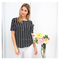 Exude elegance whether you're on the street or in the office with the 'Havana Top In Stripe'! Perfect for work and play! shop it now at shop.stfrock.com.au for $49.90! #stfrock #tops #style #stripe