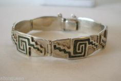 Vintage TAXCO MEXICO Sterling Silver Chip Inlay BRACELET signed Miguel MELENDEZ
