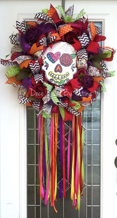 Sugar Skull Wreath  Sugar Skull Decor  by DecoDecorByPatina