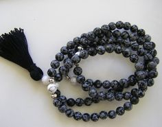 Snowflake Obsidian Mala Necklace by 1treeyoga on Etsy, $32.00
