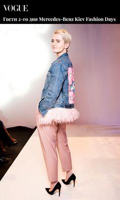 Fashion editor Vogue Ukraine Olga Yanul wearing denim jacket Daria Maria Design at Mercedes-Benz Kiev Fashion Days