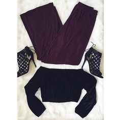 🚨CYBER MONDAY SALE🚨steal this holiday look for less!  You Com-Pleat Me Pants-$19 Smooth As Velvet Crop Top- $12  Caged Suede Heels- $32  #shorelinesugars #cybermonday #blackfriday #onlineboutique #sale #flatlay #laydown