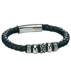 Fred Bennett Black Leather Bracelet with Celtic Beads
