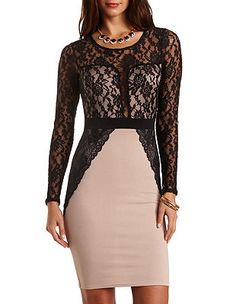 Lace & Scuba Knit Bodycon Dress: Charlotte Russe $32.99