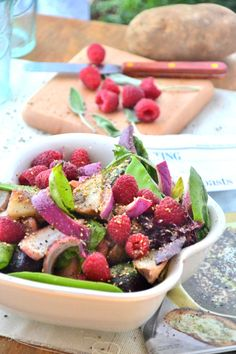 Sweet n' Spicy Raspberry Salad with Honey Vinaigrette (gluten free, vegetarian)