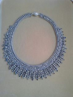 Silver superduos and heliotrope drops beaded collar