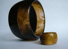 Handmade Resin Wide Bangle & Ring Set by LugoCreativeResin on Etsy, $55.00