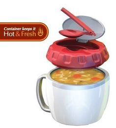 *Stay Fit Soup/Meal Container...Great for on the go soup lovers. The folding spoon is a great idea and the handle makes it easy to hold.... EZ Heat by Cool Gear  #kitchen #gadgets
